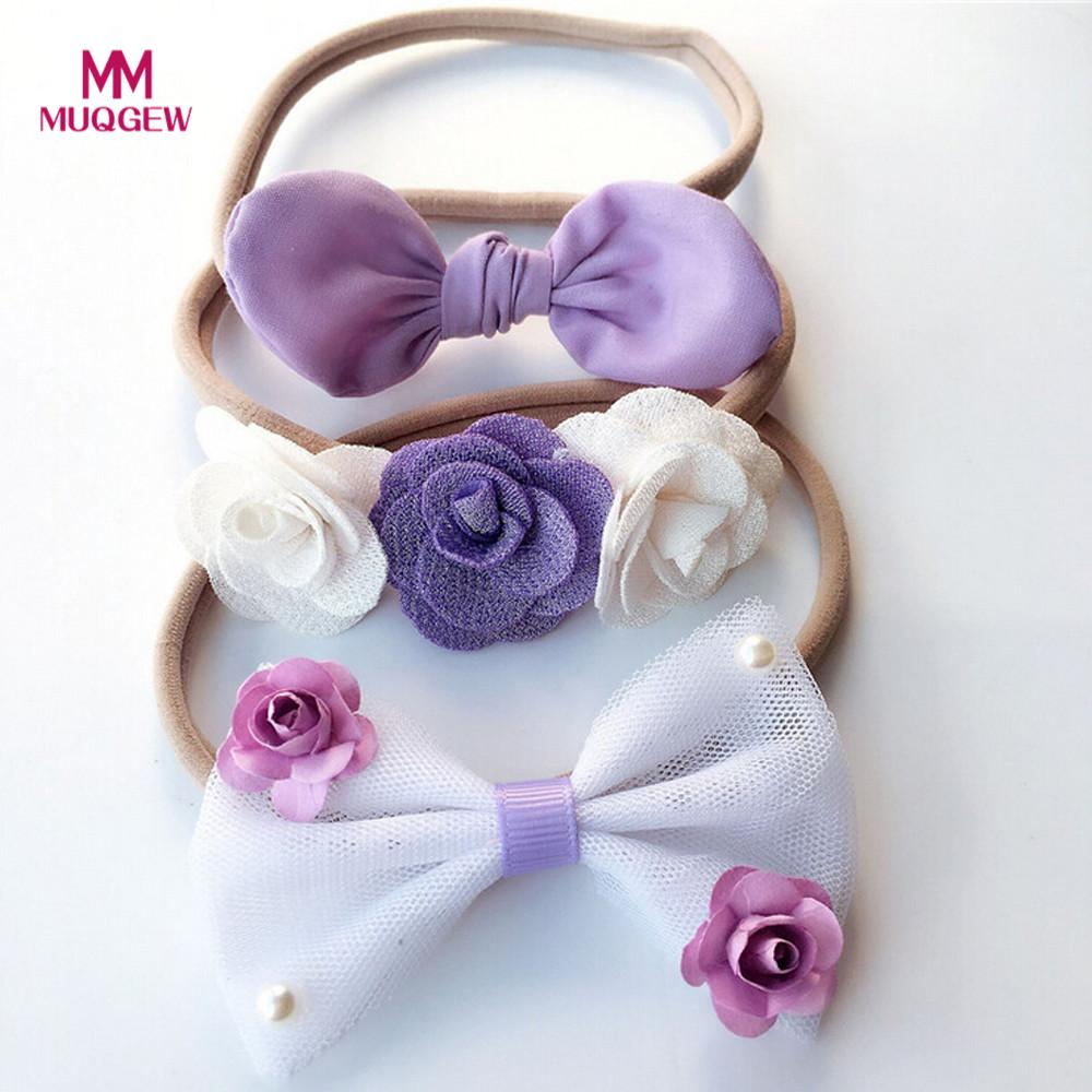 Rapture 3pcs Set Hair Accessories Kids Girl Baby Newest Style Hot Sale Toddler Bow Headband Hair Band Headwear Accesorios Para El Cabell Activating Blood Circulation And Strengthening Sinews And Bones Girls' Baby Clothing