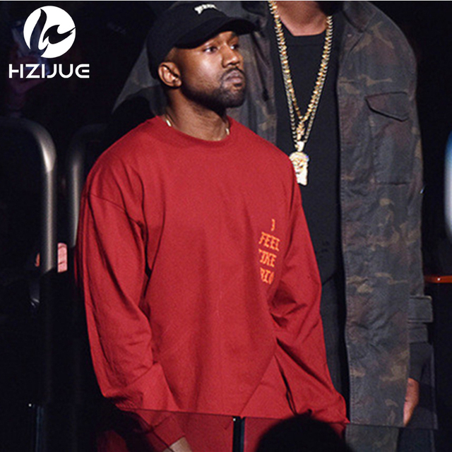 New fashion 2017 mens hip hip style i feel like pablo kanye long sleeve casual tops tee shirt long sleeve hiphop t shirt for men