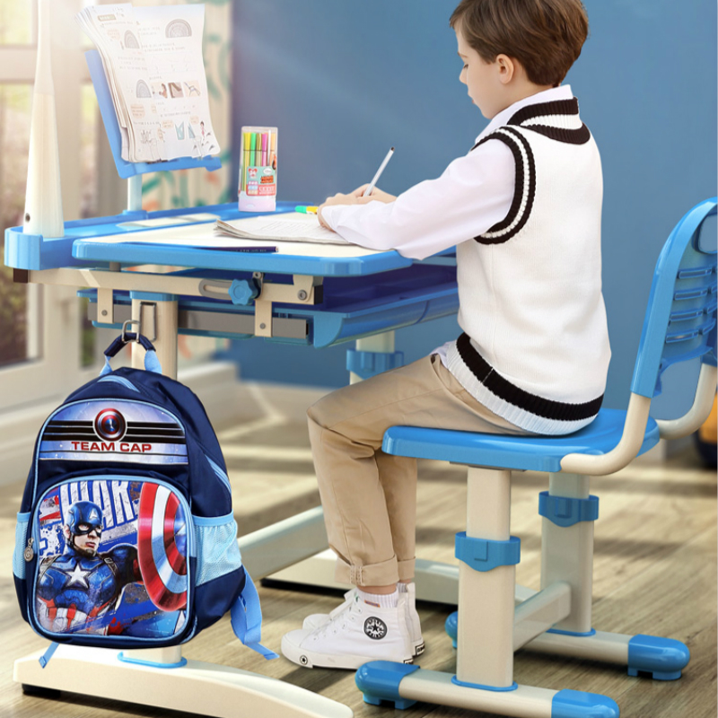 Household Kids Study Table And Chair Set Lifted Writing Desk Multifunction Multi-angle Adjustment Table Correct Sitting Posture