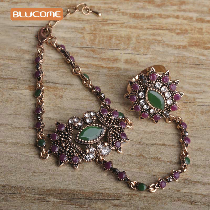 Blucome Vintage Turkish Red Bracelet Ring Set Alloy Women Girl Banquet Party Jewelry Antique Gold Color Hand Accessories Sets