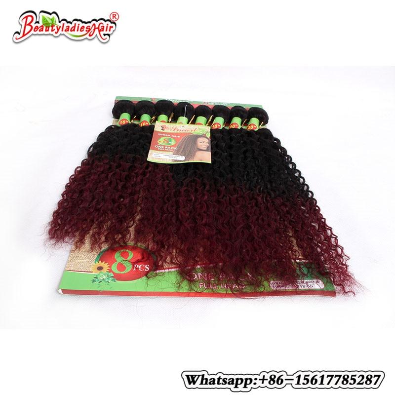 Naturlig Mänsklig Afro Kinky Curly Hair 8 st / lot Brasilian Kinky - Syntetiskt hår - Foto 5