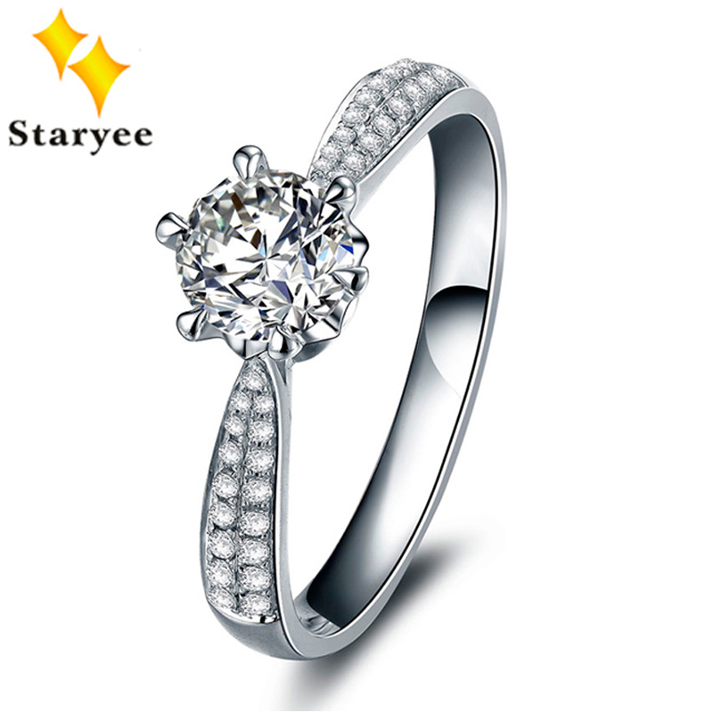 Genuine 18K Solid White Gold 0.6CT VS DEF Color Moissanite Engagement Wedding Rings For Women Natural Diamond Accents 0.1CT SI HGenuine 18K Solid White Gold 0.6CT VS DEF Color Moissanite Engagement Wedding Rings For Women Natural Diamond Accents 0.1CT SI H