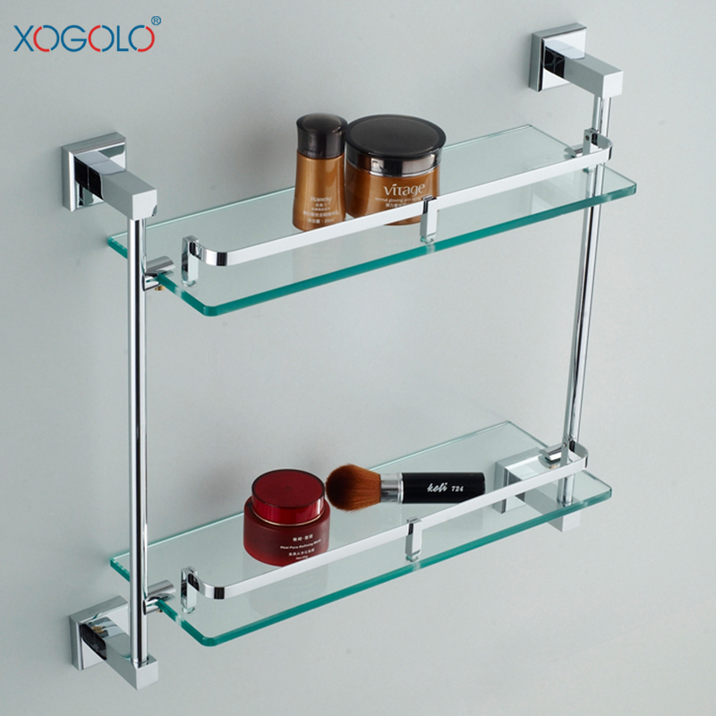 Xogolo dual tier glass bathroom shelf home rack copper for Rack for bathroom accessories