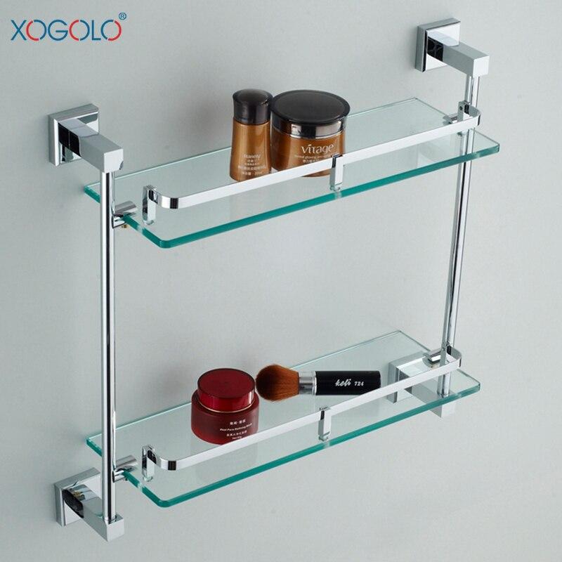 xogolo vetro doppio tier bagno mensola di casa cremagliera accessori da bagno in rame per dell