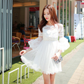 Dabuwawa pretty white long sleeve lace mesh dress