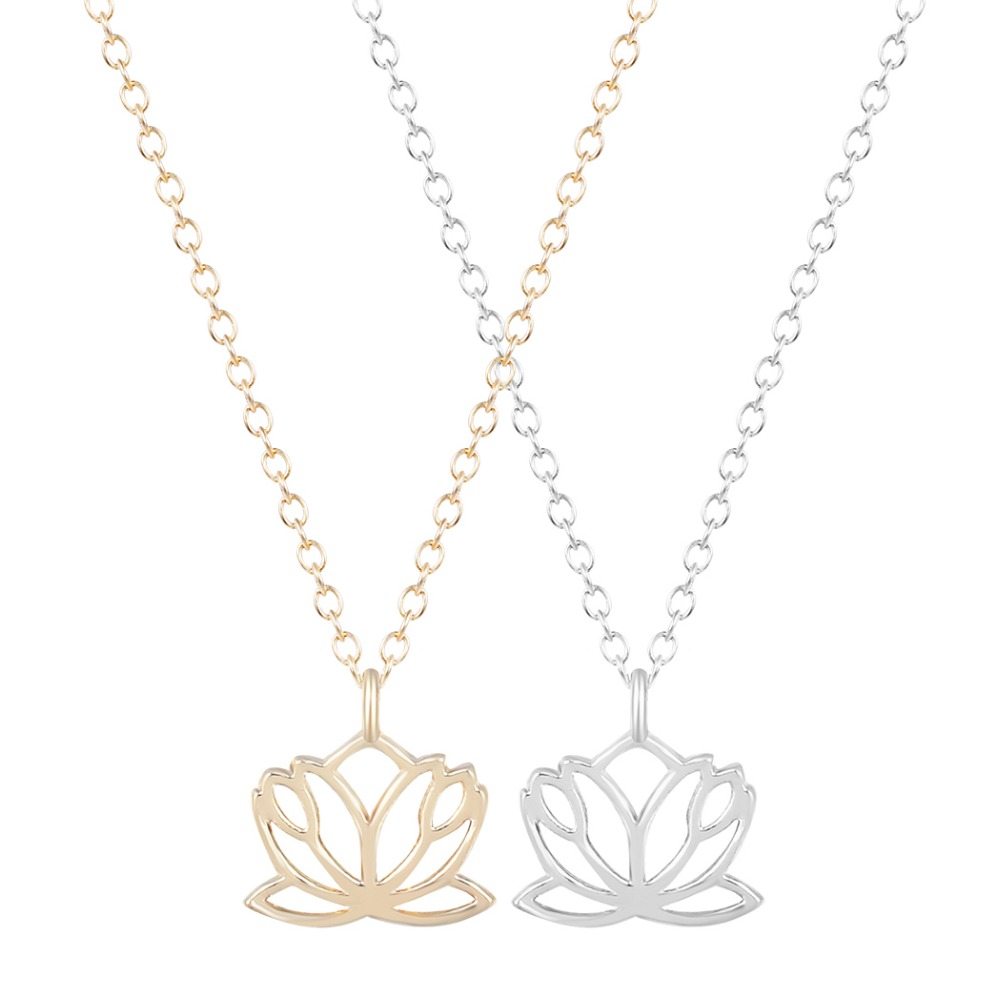Online get cheap hippie flower girl aliexpress alibaba group 10pcs boho chic 1sweet lotus necklace hippie thin dhlflorist Image collections