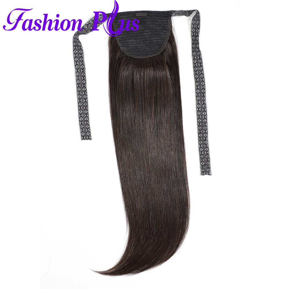Fashion Plus Clip In Ponytail Human Hair Extensions Remy Hair Drawstring Ponytail Brazilian Straight Hair(China)