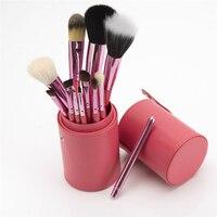 Yeni moda! Makyaj Fırçalar 12 ADET mor Makyaj Fırça Seti Kozmetik Göz Farı Fırçası ahşap Allık Araçları Tutucu ile vaka
