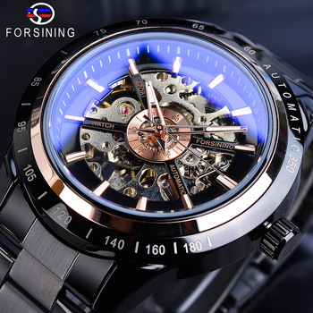 Forsining Skeleton Black Automatic Watches Racing Men Fashion Mechanical Transparent Watch Black Stainless Steel Band Clock Gift 2017 forsining china brand men watches dress automatic self wind watch black tourbillion dial imported 316l stainless steel band