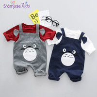 Cartoon Bib Pant Baby Boy Clothes Sets 2018 New Cotton Kids Clothes Newborn Baby Girls Clothes Long Sleeve Tshirts+Strap Pants
