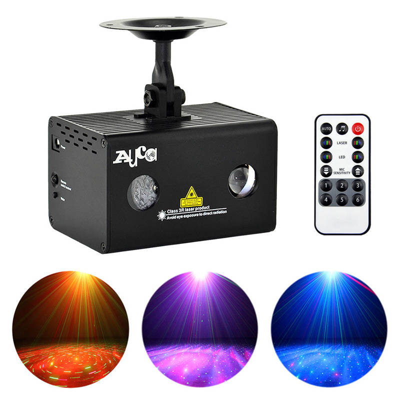 AUCD Mini Remote Red Green RG Laser Stage Lighting RGB LED Galaxy Meteor Sound AUTO Mode Show Disco Party DJ Light LL-100RG цены онлайн