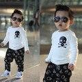 2015 new kids boys t-shirt children cartoon skull white long-sleeved black T-shirt Skull cotton t-shirt free shipping