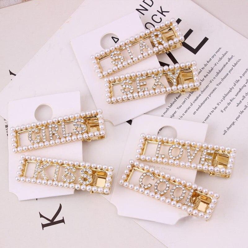 Estilo INS dorado 1 pieza letras de ciudad chicas coreano fiesta blanca perla hueca Out Star Graceful pinzas para cabello negro cristal frío