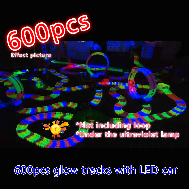 600pcs Magic Electronics Car Flashing Lights Glowing Race Tracks Miraculous Glowing Race Track Bend Flash Track in the Dark toy
