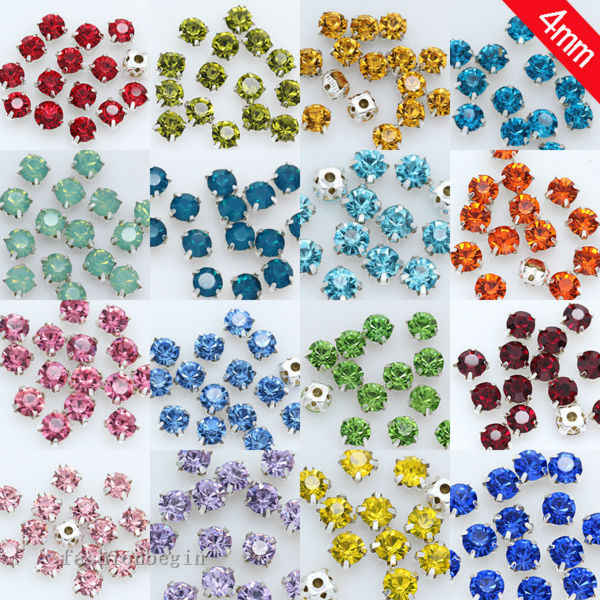 200p 4mm Sew On flatback crystal glass cup claw Garment Dress Rhinestone jewelry Montees silver base Beads Craft Gem multi-color