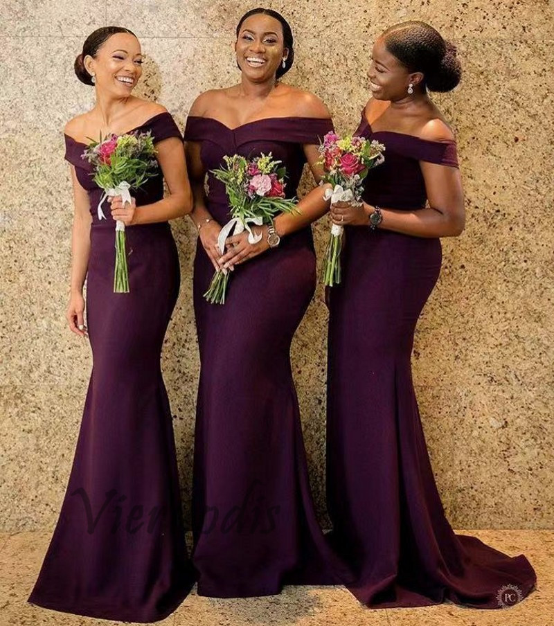33-1        Burgundy Boat Neck Off Shoulder Satin Pleated Court Train Mermaid Bridesmaid Gowns Sexy Bridesmaid Dresses