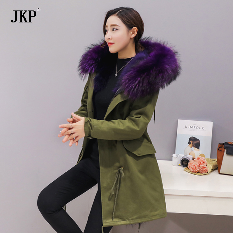 2017 new fashion women Large raccoon fur collar hooded coat warm Fox fur liner parkas long winter jacket 2017 winter new clothes to overcome the coat of women in the long reed rabbit hair fur fur coat fox raccoon fur collar