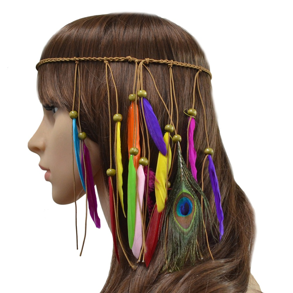 Fashion Bohemian Rope Wood Beads Colorful Feather Braid Hairband Hair Clip Handmade Ethnic Tribal Gypsy Headdress Women Jewelry