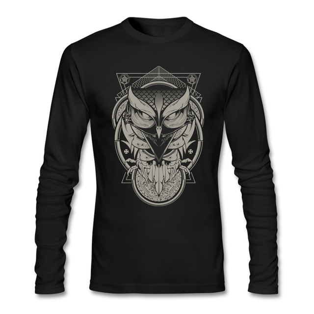 Homem Camisetas Gola Redonda Alchemy introvertido Coruja Velho 100% Algodão Tees Baratos Mangas Completos Topos