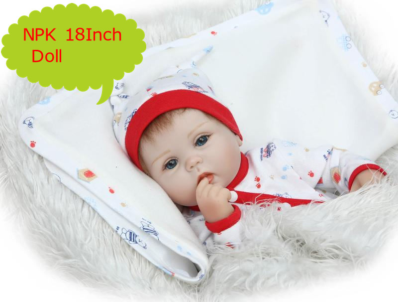 NPK 18Inches 45CM Lifelike Real Soft Silicone Baby Reborn Doll Girls Boys Lovely Gifts 3 4
