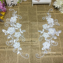 buulqo One pair of  12cm*28cm Delicate Embroidery Lace Applique Trim Dress DIY Wedding Accessories