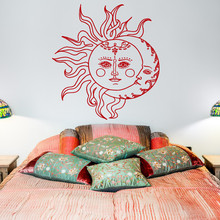 Sun And Moon Wall Decal Sticker- Crescent Decor Ethnic Symbol Decals Bedroom Dorm Bohemian Boho Bedding Art