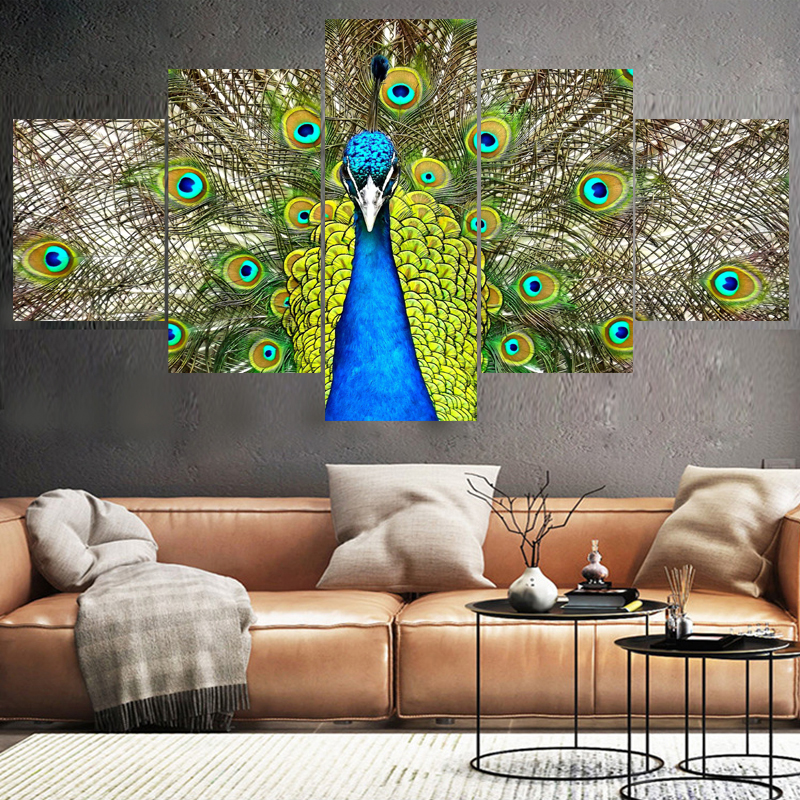 5 Panel Wall Art Pictures Home Decor Beautiful Peacock Canvas Painting Calligraphy Living Room HD Printed Animal Poster