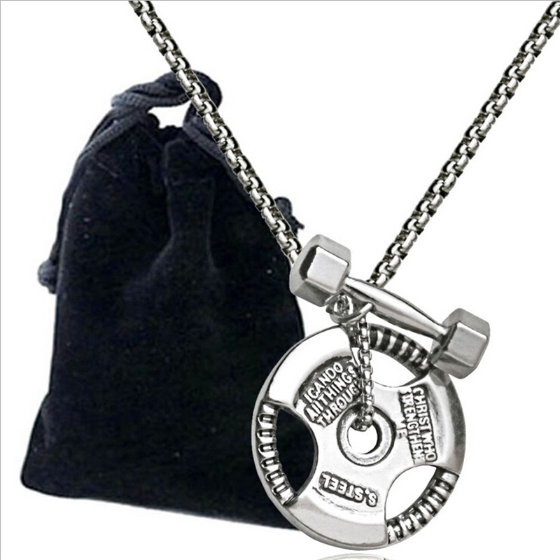 Men Stainless Steel Dumbbell Pendant Necklaces Fitness Bodybuilding Crossfit Charms Necklace Fashion Sport Gym Jewelry Free Bag