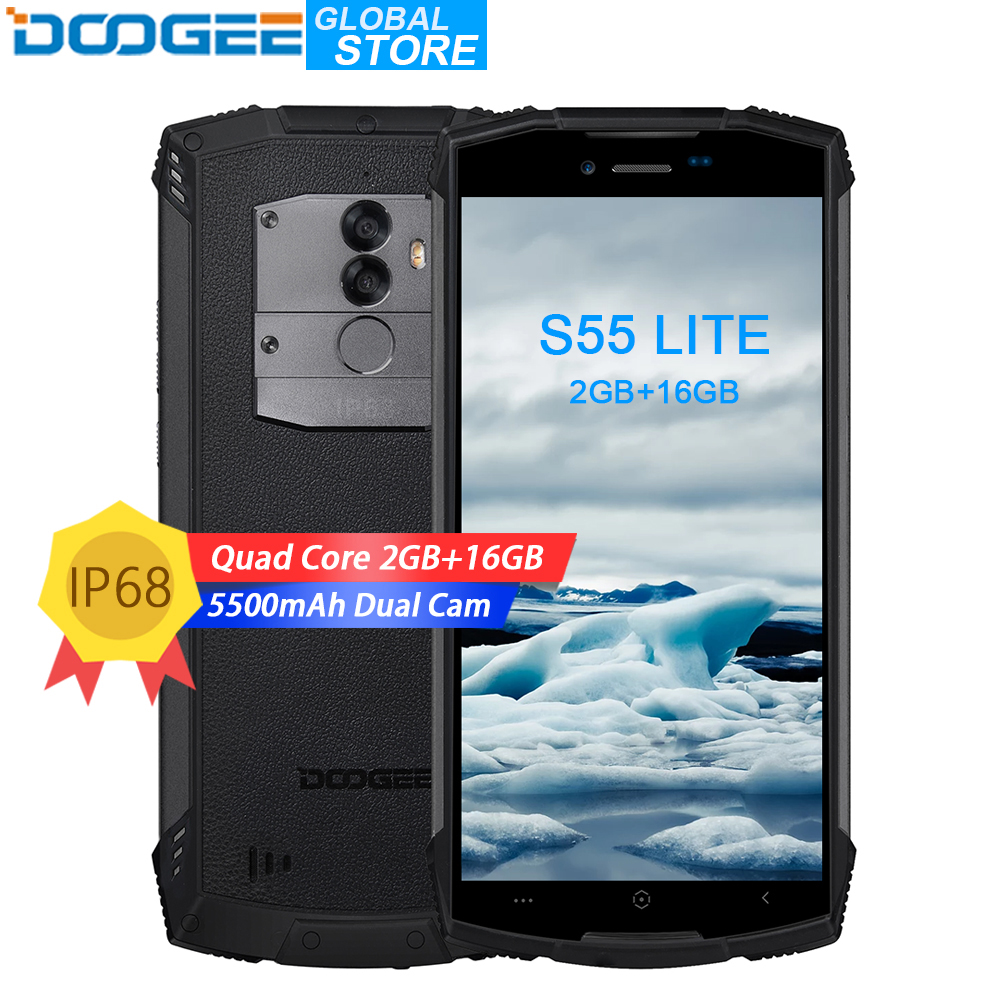 DOOGEE S55 Lite IP68 16 2 GB RAM GB ROM 5500 mAh Smartphones à prova d' água 13.0MP MTK6739 Dual SIM 4G VoLTE 5.5 polegada Android 8.1
