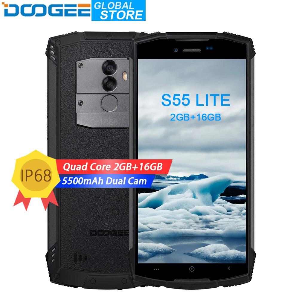 DOOGEE S55 Lite IP68 wasserdichte Smartphone 2 gb RAM 16 gb ROM 5500 mah 13.0MP MTK6739 Dual SIM Dual 4g VoLTE 5,5 zoll Android 8.1