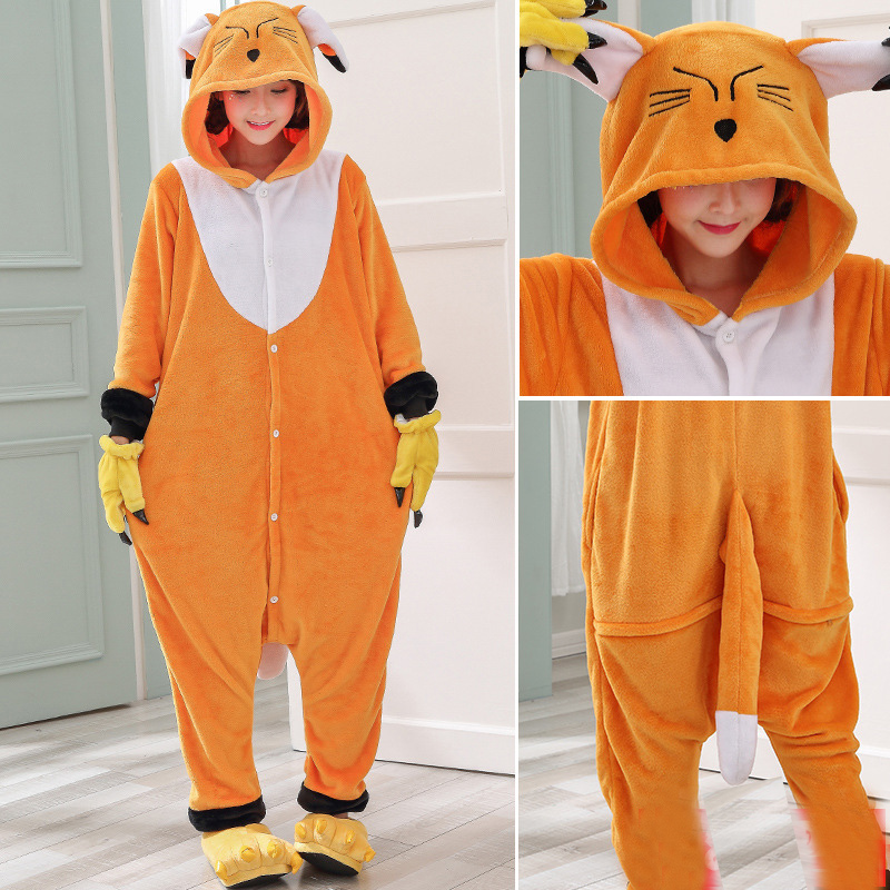 Kawaii Fox Kigurumi Onesie Animal Cartoon Sleepwear Pajama Orange White Soft Onepiece Adult Women Winter Suit Festival Outfit (5)
