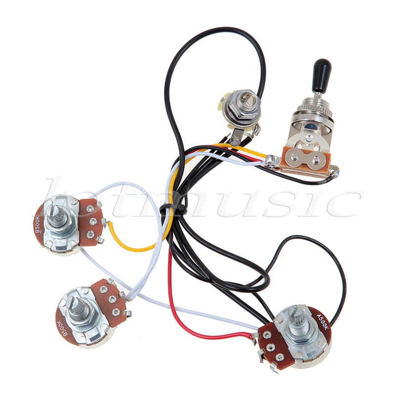 us $4 48 one set of electric guitar wiring harness 3 way 2v1t 500k open toggle switch with mounting nut and switch tip and cap in guitar parts \u0026 2 humbuckers 1 volume 3 way switch switch 1 humbucker 2 single coil