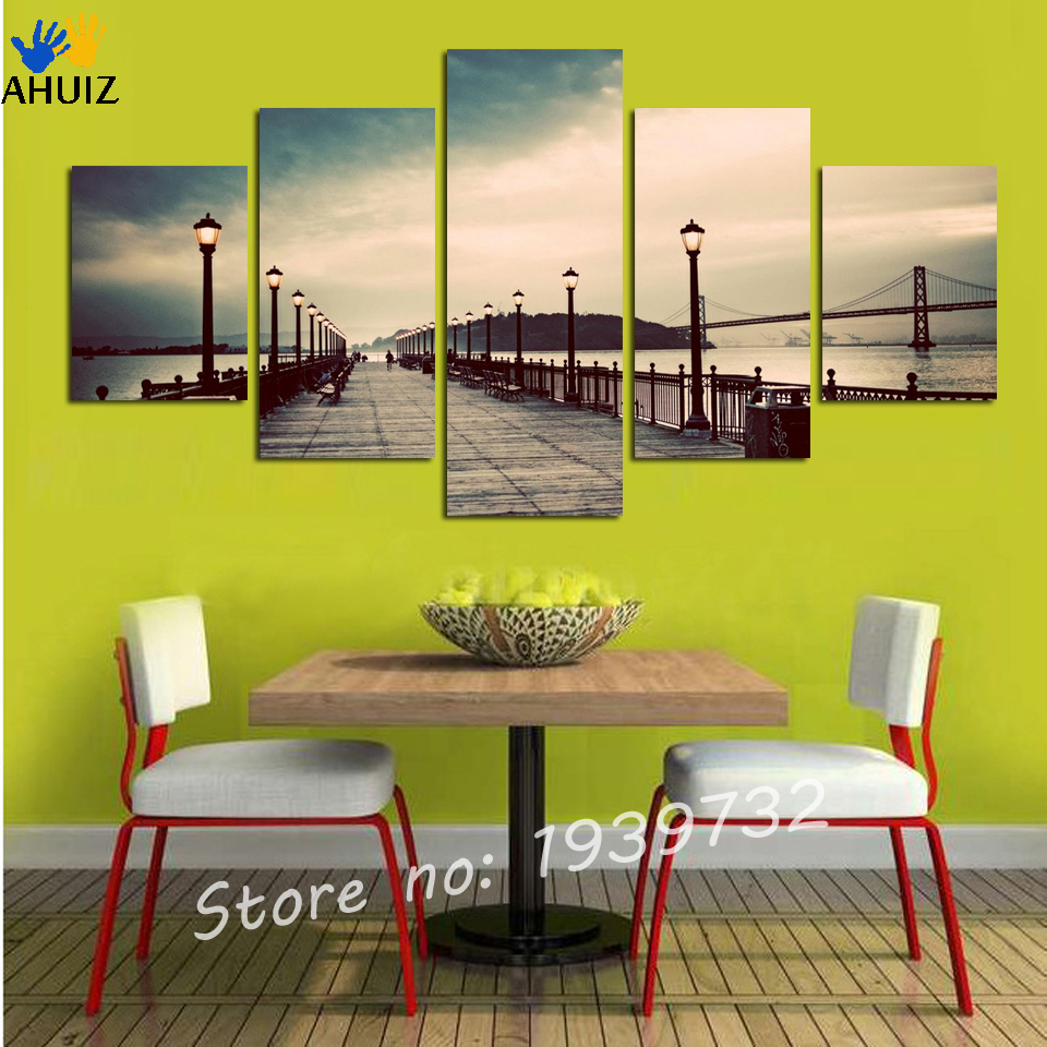 5 Pcs tall Bridge Painting Canvas Wall Art Picture Home Decoration ...