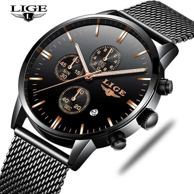 все цены на New Mens Watches Top Luxury Brand LIGE Fashion Waterproof Ultra Thin Clock Male Full Steel Quartz Watch Men Business Wristwatch онлайн