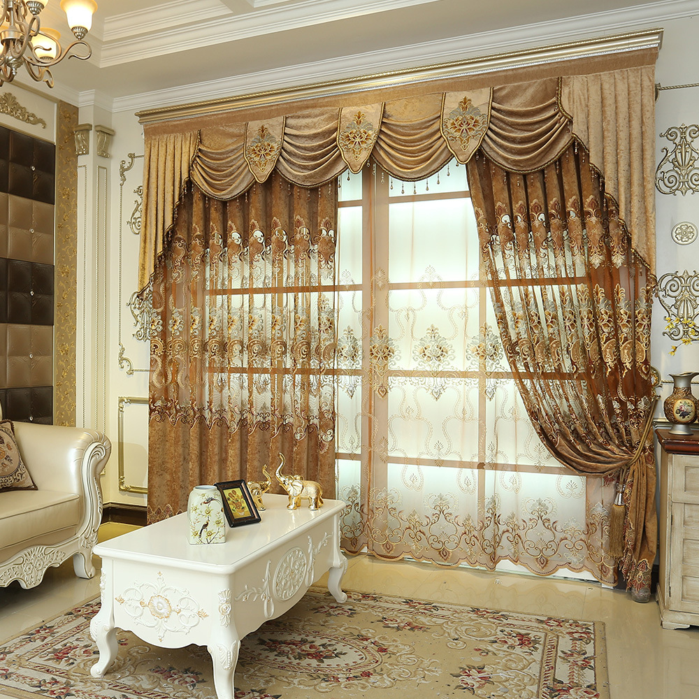 Brown Chenille Cloth Embroidered Tulle Window Curtains For living Room Bedroom Luxury Valance Curtains Window Treatment Drapes