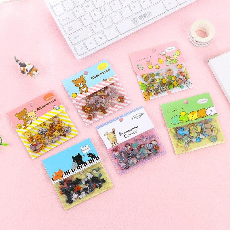 80pcs/set New Japan Cartoon Originality Sticker Rilakkuma Bear Relax Kuma Stickers Lovely Aniaml Bear Cat Decoration Kids Gift