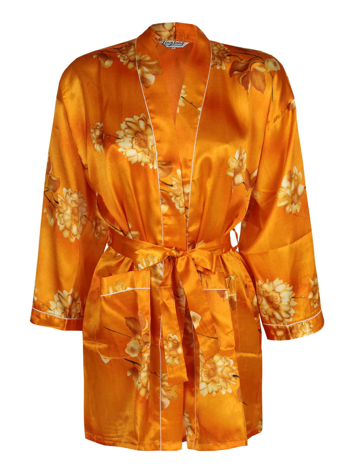Kimono Robe Silk Blend With Print Flowers-Orange