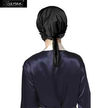 LilySilk 100 Silk Sleep Cap Women Sleeping Bonnet 19 Momme Elastic Band Adjustable Hair Care