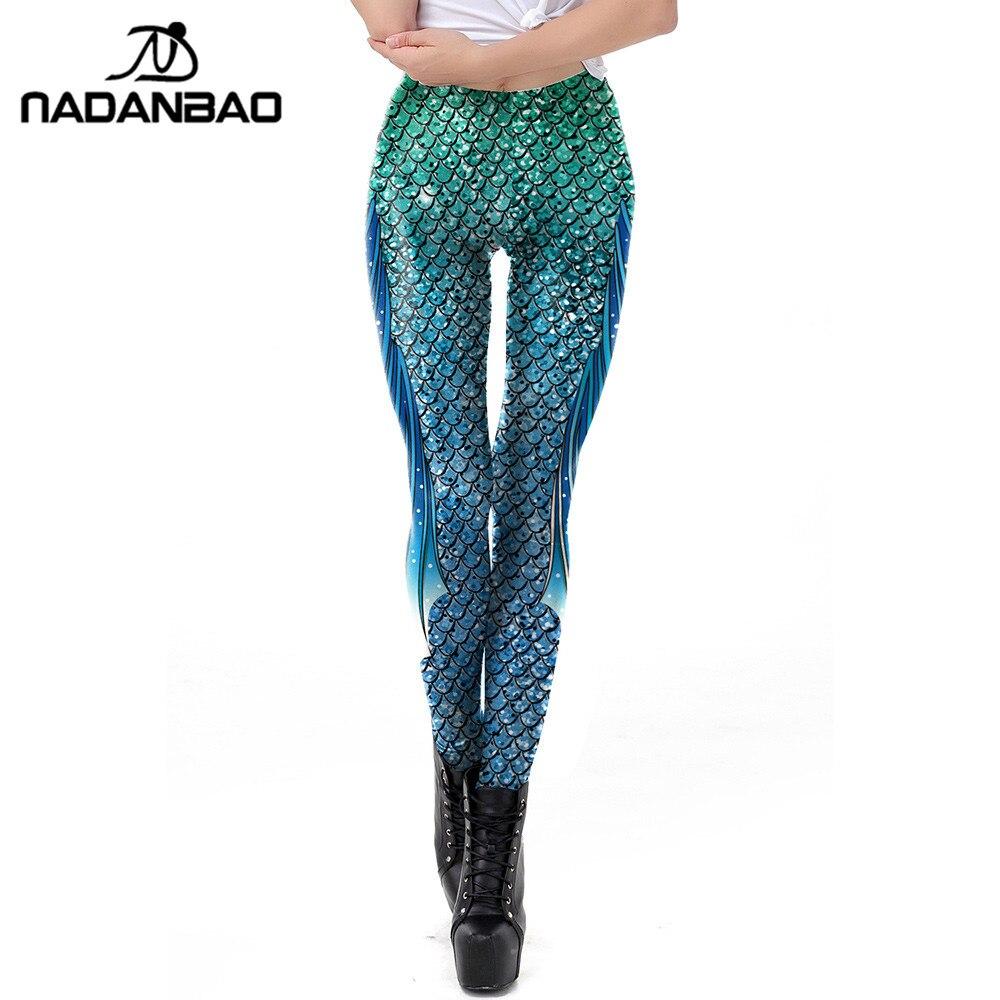 NADANBAO New Galaxy Leggings Women Sexy Mermaid Legging Fish Scale Leggins Fitness Colorful Puls Size Elasticity Legins