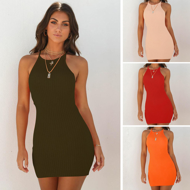 2020 spring Europe and America AliExpress Amazon wish EBAY explosion models sexy ribbed small strap dress