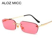 ALOZ MICC Rimless Rectangle Sunglasses Women Men Brand Designer Sexy Small Square Sun Glasses Female Metal Eyewear UV400 Q40