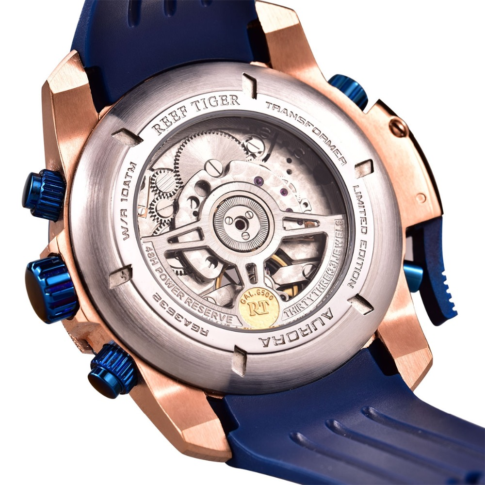 56339dc8c7c Recife Tigre RT Top Marca de Luxo Militar Relógios Pulseira De Borracha  Azul Relógio Do Esporte Dos Homens de Ouro Rosa Automático Relógios À Prova  D  Água ...