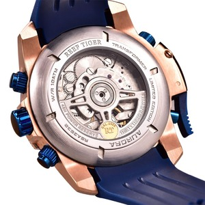 Image 5 - Reef Tiger/RT Top Brand Luxury Sport Watch Men Rose Gold Military Watches Blue Rubber Strap Automatic Waterproof Watches RGA3503