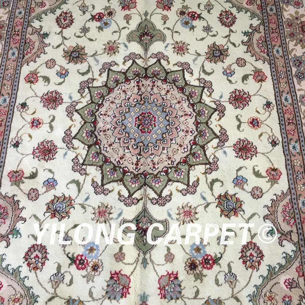ييلونغ 4'x6 'النمط التركي معقود الزهور الملونة البساط رائعة دائم سجاد حرير الصوف الصيني (WY2102S4x6)
