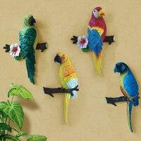 Fine Pastoral 3D three dimensional parrot decorative wall hook up Creative Mediterranean home resin pendant Robe Hooks