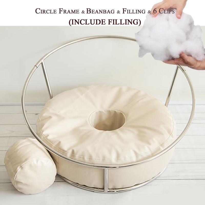 Filling Bag bean Set for Newborn Baby Product Photography Props Beanbag Steel Pipe Frame Blanket Circle