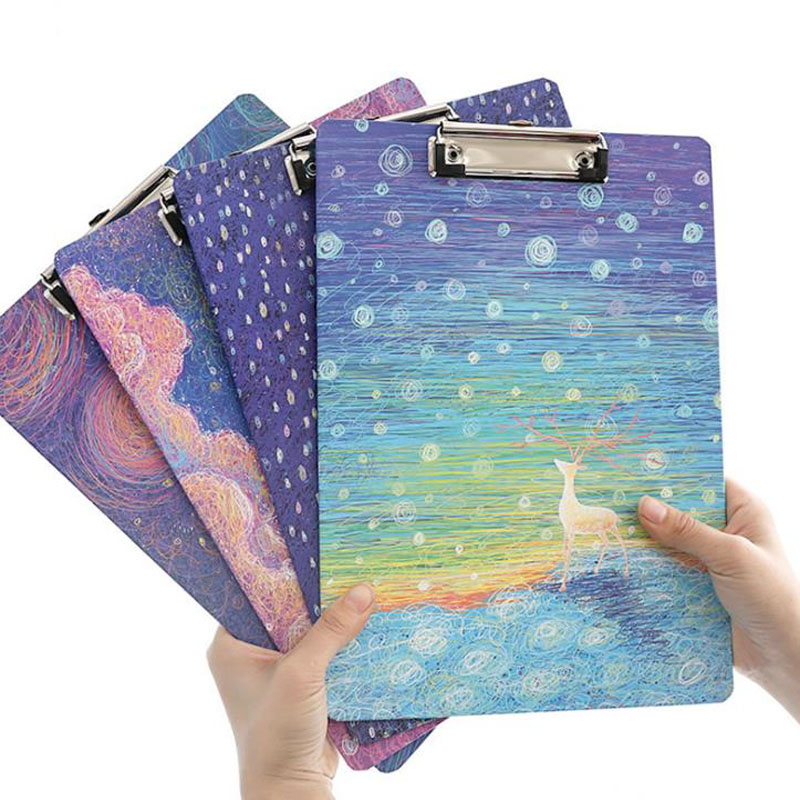 1 Pcs A4 Cute Sky Deer Girl Clipboards Lovely Stationery Clip Folder Board Desk File Drawing Writing Pad School Office Supplies creative a4 clipboards lovely stationery store clip folder board desk file drawing writing pad school office accessory tool jb04