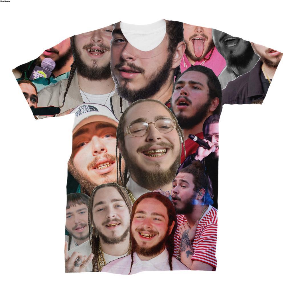 2018 Post Malone Photo Collage T-Shirt Divertente Stampati di Alta Qualità DELLE DONNE Degli Uomini Stampato 3D T Shirt