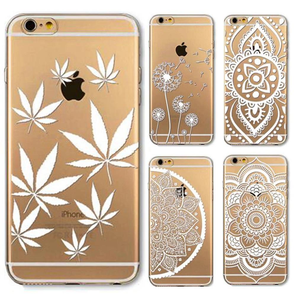 Étui pour iphone 6 6 s 4.7 pouces motif peint fleur henné blanc Floral Paisley fleur Mandala Tpu doux Ultra mince coque de téléphone