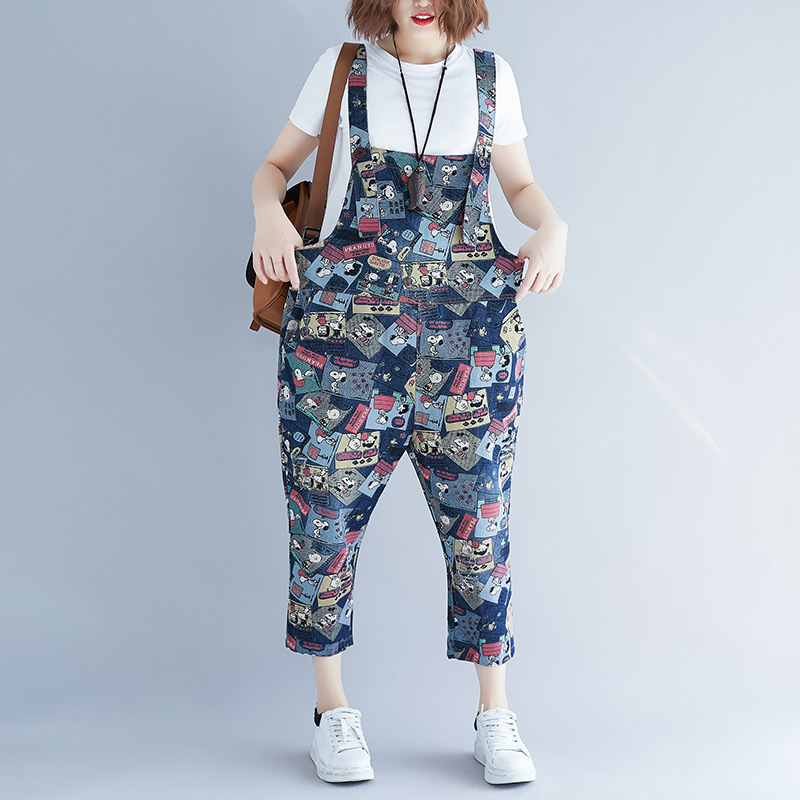 2019 Spring Summer New Women Vintage Cartoon Dog Printed Straight Leg Bib Denim Overalls Jean Jumpsuits Female Loose Rompers